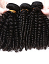3 paket Brasilianskt hår Kinky Curly Curly Weave Obehandlad hår Human Hår vävar Hårförlängning av äkta hår Människohår förlängningar / 10A / Sexigt Lockigt