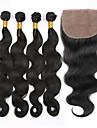 Peruanskt hår Kroppsvågor Obehandlad hår Hår Inslag med Stängning Hårförlängning av äkta hår Människohår förlängningar