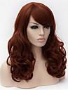 Syntetiska peruker Lockigt Lockigt Asymmetrisk frisyr Med lugg Peruk Lång Mörk Rödbrun Syntetiskt hår Dam Naturlig hårlinje Brun