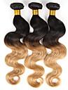 3 paket Indiskt hår Kroppsvågor Äkta hår Nyans Hårförlängning av äkta hår Människohår förlängningar / 8A
