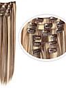 Hårstycke Rak Klassisk Syntetiskt hår HÅRFÖRLÄNGNING Klämma in Dagligen