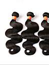 4 paket Brasilianskt hår Kroppsvågor 10A Obehandlad hår Hår Inslag med Stängning Svart Natur Svart Hårförlängning av äkta hår Människohår förlängningar