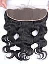 Brasilianskt hår 100 % handbundet Kroppsvågor Fria delen Schweizisk spetsperuk Äkta hår