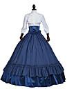 drottning Elizabeth Rokoko Victoriansk Medeltida kostymer 18th Century Klänningar Festklädsel Maskerad Dam Spets Satin Kostym Rubinrött / Mörkblå Vintage Cosplay Party Bal Långärmad Golvlång