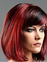 Syntetiska peruker Rak Rak Bob-frisyr Med lugg Peruk Korta Fuxia Syntetiskt hår Dam Hår med highlights / balayage Sidodel Röd