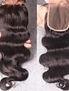 Indiskt hår 100 % handbundet Kroppsvågor Fria delen / Mittparti / 3 Del Schweizisk spetsperuk Remy-hår / Äkta hår