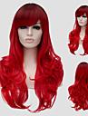 Syntetiska peruker Vågigt Vågigt Med lugg Peruk Lång Röd Syntetiskt hår Dam Sidodel Röd