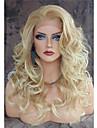 Syntetiska snörning framifrån Kroppsvågor Kroppsvågor Spetsfront Peruk Blond Lång Blond Syntetiskt hår Dam Värmetåligt Naturlig hårlinje Sidodel Blond