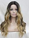 Syntetiska snörning framifrån Vågigt Kardashian Stil Middle Part Spetsfront Peruk Svart / Grå Black / Blonde Mörkbrun / Guldblondin Syntetiskt hår Dam Värmetåligt / Ombre-hår / Mörka hårrötter