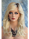 Syntetiska peruker Kroppsvågor Kroppsvågor Med lugg Spetsfront Peruk Blond Lång Blond Syntetiskt hår Dam Mörka hårrötter Sidodel Blond