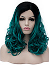 Syntetiska peruker Peruk Mellan Grön Syntetiskt hår Dam Grön