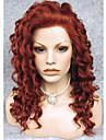 Syntetiska peruker Lockigt Lockigt Spetsfront Peruk Kastanjebrun Syntetiskt hår Röd