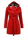 여성용 트렌치 코트 일상복 겨울 긴 코트 보통 시크&모던 자켓 긴 소매 솔리드 클래식 스타일 퍼플 레드 블루 / 플러스 사이즈