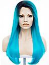 Syntetiska snörning framifrån Rak Rak Spetsfront Peruk Blå Syntetiskt hår Dam Mörka hårrötter Naturlig hårlinje Blå