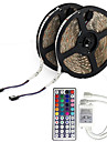 LED Strip Light (2*5M)10M/32.8ft 3528 RGB 600leds 8mm Strips Lighting Flexible Color Changing with 44 Key IR Remote Ideal for Home Kitchen Christmas TV Back Lights DC 12V