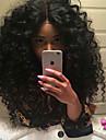 Syntetiska snörning framifrån Lockigt Lockigt Spetsfront Peruk Mellan Svart Syntetiskt hår Dam Värmetåligt Naturlig hårlinje Mittbena Natur Svart / Afro-amerikansk peruk