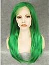 Syntetiska snörning framifrån Rak Rak Spetsfront Peruk Grön Syntetiskt hår Dam Grön