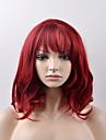 Syntetiska peruker Naturligt vågigt Naturligt vågigt Peruk Korta Röd Syntetiskt hår Dam Röd