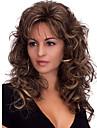 Syntetiska peruker Kroppsvågor Kroppsvågor Med lugg Peruk Mellan Mörkbrun Syntetiskt hår Dam Värmetåligt Fluffig Mörkbrun