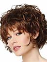 Syntetiska peruker Lockigt Lockigt Pixie-frisyr Med lugg Peruk Korta Beige Syntetiskt hår Dam Värmetåligt Brun