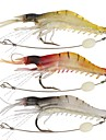 3 pcs Mjukt bete Fiske Snaps & Lekare Räka Flytande Sjunker Bass Forell Gädda Sjöfiske Kastfiske Färskvatten Fiske Mjuk plast Metall Stålkabel / Karpfiske / Drag-fiske / Generellt fiske