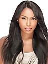 Äkta hår L-formad hätta Peruk Rak Peruk Naturlig hårlinje / Afro-amerikansk peruk / 100 % handbundet Dam Lång Äkta peruker med hätta