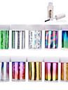 Abstrakt - Finger / Tå - 3D Nagelstickers - av PVC - 10st nagel foils + 1st nagel foil lim - styck 4cmX120cm each piece - cm