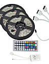 15M(3*5M) 3528 RGB 900 LEDs 8mm Strip Flexible Light LED Tape String Lights waterproof AC 12V 600LEDs with 44Key IR Remote Controller Kit