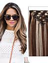 Febay Klämma in Människohår förlängningar Rak Äkta hår Brasilianskt hår Medium Brun / Blekt Blont