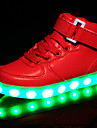 Flickor Komfort / Lysande skor Syntet Sneakers Lilla barn (4-7år) / Stora barn (7 år +) Krok och ögla / LED Vit / Svart / Röd Vår / Gummi