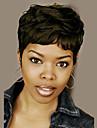 Mänskligt hår Peruk Korta Vågigt Naturligt vågigt Pixie-frisyr Frisyr i lager Korta frisyrer 2019 Berry Naturligt vågigt Vågigt Afro-amerikansk peruk Till färgade kvinnor Med Bangs Dam Svart