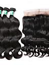 3 paket med stängning Brasilianskt hår Kroppsvågor Obehandlad hår Hår Inslag med Stängning 8-22 tum Hårförlängning av äkta hår Människohår förlängningar