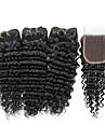3 paket med stängning Indiskt hår Stora vågor Obehandlad hår Human Hår vävar Hårförlängning av äkta hår Människohår förlängningar / 10A