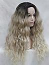 Syntetiska snörning framifrån Vågigt Kardashian Stil Frisyr i lager Spetsfront Peruk Blond Blond Syntetiskt hår Dam Mörka hårrötter / Naturlig hårlinje Blond / Nyans Peruk Lång