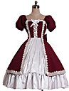 Prinsessa Sweet Lolita Klänningar Dam Flickor Cotton Japanska Cosplay-kostymer Röd Enfärgad Puff Kortärmad Knälång
