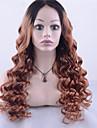 Remy-hår Halvnät utan lim Spetsfront Peruk Jennifer stil Peruanskt hår Löst vågigt Nyans Peruk 130% Hårtäthet med babyhår Ombre-hår Naturlig hårlinje Afro-amerikansk peruk 100 % handbundet Dam Korta