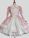 Prinsessa Sweet Lolita Klänningar Dam Flickor Cotton Japanska Cosplay-kostymer Plusstorlekar Anpassad Blå / Rosa Balklänning Enfärgad Långärmad Knälång