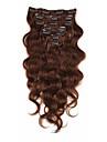 Klämma in Människohår förlängningar Kroppsvågor Obehandlad hår Hårförlängningar av äkta hår Brasilianskt hår Dam Beige