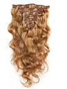 Klämma in Människohår förlängningar Kroppsvågor Obehandlad hår Hårförlängningar av äkta hår Dam Jordgubbsblont
