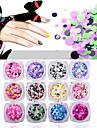 12pcs Glitter Paljetter nagel konst manikyr Pedikyr Dagligen Glitters / Neon & Bright / Mode