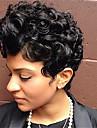 Mänskligt hår Peruk Korta Naturligt vågigt Pixie-frisyr Frisyr i lager Korta frisyrer 2019 Berry Naturligt vågigt Sidodel Afro-amerikansk peruk Maskingjord Dam Kolsvart