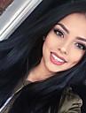 Äkta hår Spetsfront Peruk Kardashian stil Brasilianskt hår Rak Peruk 130% Hårtäthet 22 tum med babyhår Naturlig hårlinje Afro-amerikansk peruk 100 % handbundet Dam Lång Äkta peruker med hätta