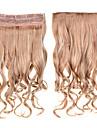klipp i håret 60cm 24inch 5 klipp # 27/613 blandad färg 5clips syntetiskt lockigt hår syntetiskt hår väver