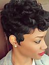 Mänskligt hår Peruk Korta Naturligt vågigt Pixie-frisyr Frisyr i lager Korta frisyrer 2019 Med lugg Berry Naturligt vågigt Afro-amerikansk peruk Maskingjord Dam Kolsvart