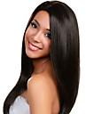 Äkta hår Halvnät utan lim Spetsfront Peruk stil Rak Peruk 130% Hårtäthet Naturlig hårlinje Afro-amerikansk peruk 100 % handbundet Dam Lång Äkta peruker med hätta