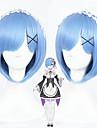Syntetiska peruker Kostymperuker Rak Rak Bob-frisyr Med lugg Peruk Korta Mellan Blå Syntetiskt hår Dam Blå