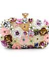Dam Imitationspärla / Kristall / Strass / Blomma Polyester Aftonväska Rhinestone Crystal Evening Bags Blomtryck Regnbåge / Bröllopsväskor / Bröllopsväskor