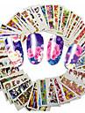 48pcs/set Klistermärken & Tejpar / Vattenövergångsklistermärke / Nail Sticker Blomma / Nail Decals Nail Art Design