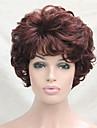 Syntetiska peruker Lockigt Vågigt Lockigt Peruk Korta Kastanjebrun Syntetiskt hår Dam Brun