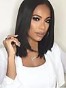 Syntetiska peruker Rak Kardashian Stil Middle Part Utan lock Peruk Svart Svart Syntetiskt hår Dam Svart Peruk Mellan